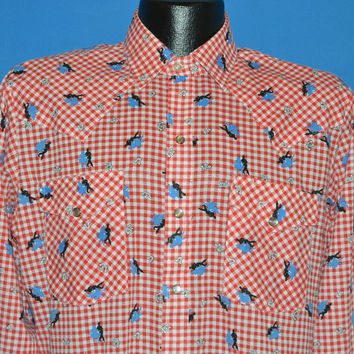 80s DC Brand Gingham Square Dancing Pearl Snap Shirt Large