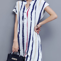 White Buttoned Stripes Stand Collar Casual Dress