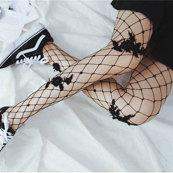 Black Floral Embroidered Fishnet Tights