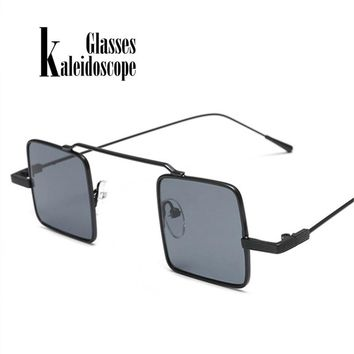 Women Small Quadrate Frame Sunglasses Men Vintage  Eyewears Integrated Alloy+Resin Steampunk Sun Glasses