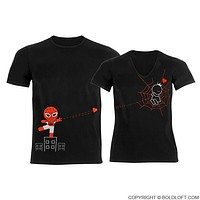 Captured by Your Love™ Black His and Hers Couples Shirts,Matching Couple Shirts,Valentines Day Shirts,Spiderman Shirt,Couples Gift Set