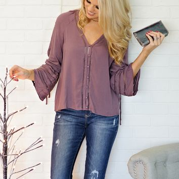 * Caillie Bell Sleeve Top w/ Eyelet Detail: Plum