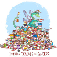 HOARD OF TEACUPS AND SAUCERS PRINT