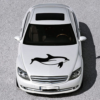 ANIMAL DOLPHIN CUTE FISH DESIGN HOOD CAR VINYL STICKER DECALS ART MURAL SV1573