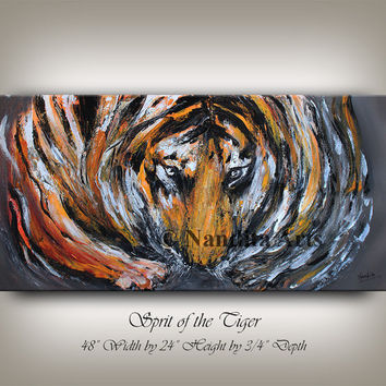 "Animal Painting, 48"" Tiger Art, Animal Art, Wildlife, Animal Wall Art, large Cat painting, Original Safari Art Handmade Artwork by Nandita"