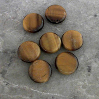 Natural Tiger Eye 16x6 Flat Round Gemstone Beads CC-80742