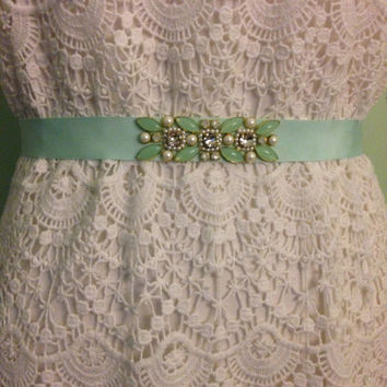 Blush or Mint Colored Crystal and Pearl Floral Beaded Bridesmaids Grosgrain Sash