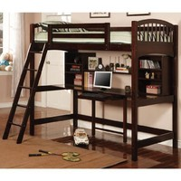 Cappuccino Finish Workstation Bunkbed Bunk Bed PC Desk