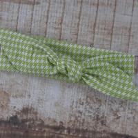 Ready To Ship Lime Green and White Houndstooth Top Knot Headband Head Tie Head Wrap