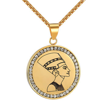 Queen Nefertiti Coin Design Pendant Necklace Simulated Diamond Stainless Steel