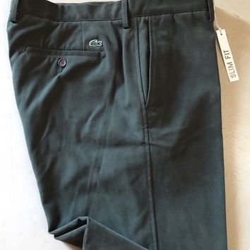 New $150 Lacoste Men's Pants Slim Fit Green Size 36 US