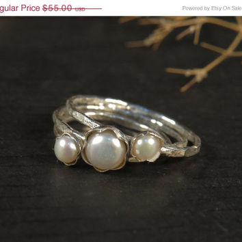 SALE Pearl engagement ring set of 3, Stacking rings sterling silver, Skinny rings with fresh water pearls