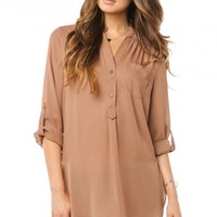 Pure Colora Blouse in Mocha - ShopSosie.com