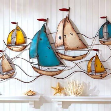 Wall Sculpture Metal Large Sailboat Rustic Distressed Vintage Ocean Sailing Sea