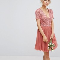 Maya Petite Plunge Neck Embellished Top Mini Dress With Tulle Skirt at asos.com