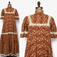 Rare Vintage 60s Laura Ashley Dress / 1960s 2-Tone Brown Floral Crochet Lace Trim Maxi Dress Made in Wales