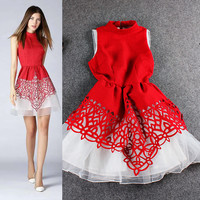 Spliced Mandarin Collar Sleeveless Ruched Filigree Mini Dress