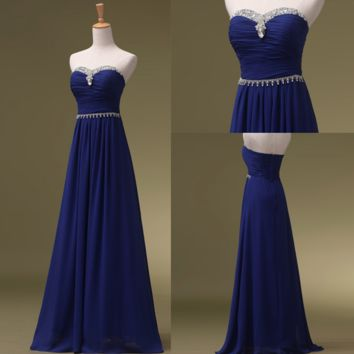 Elegant Prom Dresses,Strapless Prom Dresses,Long Evening Dress