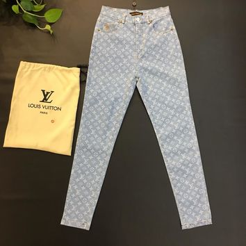 """Louis Vutitton LV"" Women All-match Fashion Letter Logo Stretch Jeans Trousers"