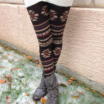 Brown Pattern Tights