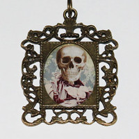 Skeleton Lady Rectangle Pendant Necklace