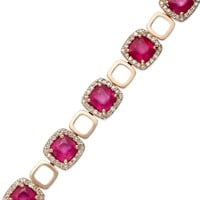 Rosa by EFFY Ruby (13 ct. t.w.) and Diamond (1-1/4 ct. t.w.) Bracelet in 14k Rose Gold