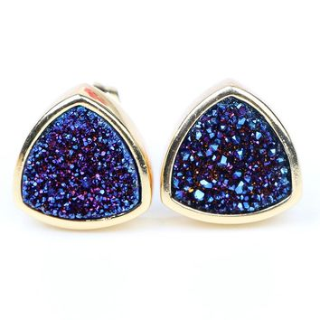 BOROSA Gold Color Fashion Jewelry Plating Color Triangle Natural Agates Tiny Druzy Stone Stud Earrings