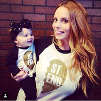 Spring 2015 New Family Matching Outfits Long-sleeved T-shirt for Boys and Girls Children's Letters Fashion T-shirts