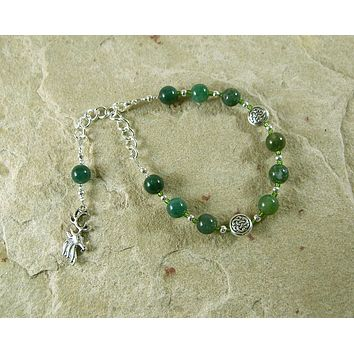 Cernunnos Prayer Bead Bracelet in Moss Agate: Gaulish Celtic God of Nature and Wild Beasts