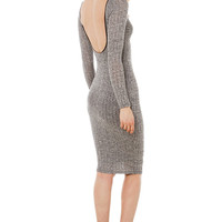 Ribbed Midi Grey Dress