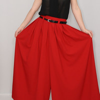 Red palazzo pant Fashion skirt pants Chiffon pants