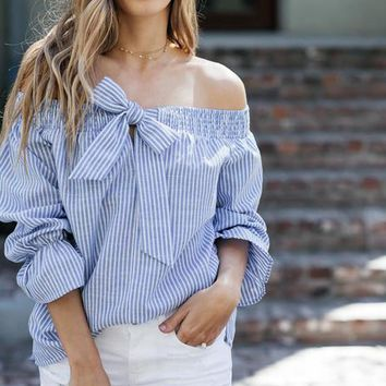 2017 Summer Off Shoulder Striped Women Blouse Sexy Slash Neck Bow Flare Sleeve Tops Shirts Plus Size Casual Cute Womens' Blusas