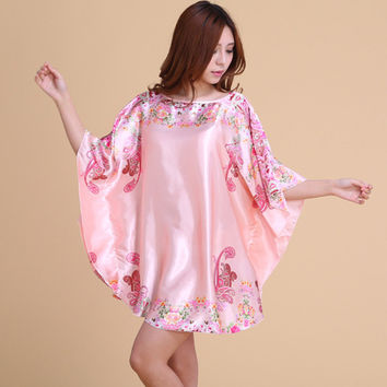 Women Faux Silk Satin Night Shirt Plus Size Nightgown Floral Nightdress Half Sleeve Sleep Dress Casual Indoor Clothing