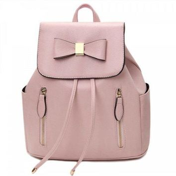 Drawstring Bow Double Zipper Backpack - Pink