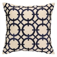 Parisian Navy Blue Embroidered Pillow