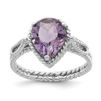 925 Sterling Silver Rhodium Plated Amethyst Pear Twisted Ring