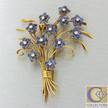 Van Cleef & Arpels 18k Yellow Gold Diamond Sapphire Flower Bouquet Brooch Pin
