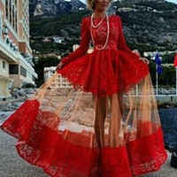 Red Lace Sheer Mesh Long Sleeve Flare Skirt Maxi Dress Gown