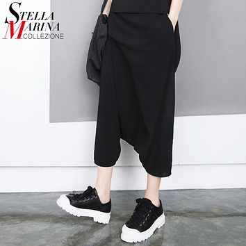 New Arrivals Korea 2016 Women Summer Black Harem Pants Elastic Waist Calf Length Flat Loose Pants Boho Hippie Female Pants  1493