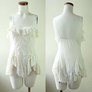 80s/90s - Ivory - Cream - See Through - Lace & Mesh - Ruffle - Nightie - Teddy - Lingerie - Satin Bows - Large