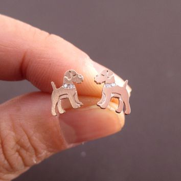 Schnauzer Shaped Stud Earrings with Rhinestones in Rose Gold