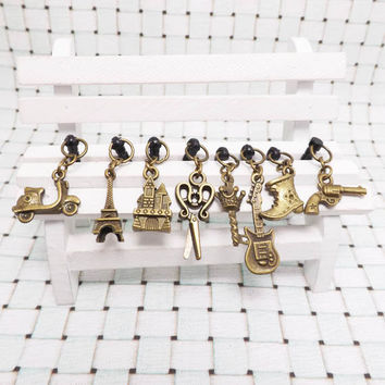 Retro Bronze Eiffel Castle Gun Crown Guitar Dust Plug 3.5mm Phone Dust Stopper Earphone Cap Headphone Jack Charm iPhone 4 4S 5 HTC Samsung