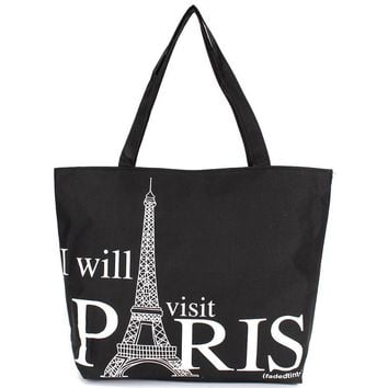 Large Space Women Canvas Handbag Zipper Shopping Shoulder Bag Paris Eiffel Tower Pattern Girls Beach Bookbag Casual Tote Fashion