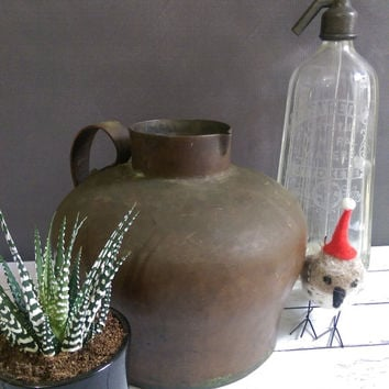 Large Copper Pitcher/ Rustic Copper Pitcher/ Antique Copper Basin/ Copper Vessel/ Vintage Copper Pitcher