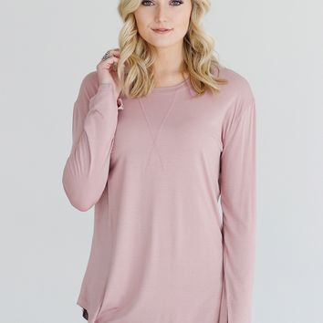 Mauve DLMN Long Sleeve Seam And Stitch Tee