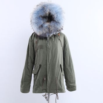 Full Fox Fur Reversible Jacket Pale Blue