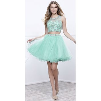 Mint Green Two-Piece Short Prom Dress Illusion Neckline Cut Out Back