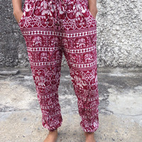 Slim Cut Elephant Print Pants Trousers Yoga Harem Pants Hippie Boho Style Clothing Tribal Cloth For Beach Summer Casual Comfy Unique  in Red