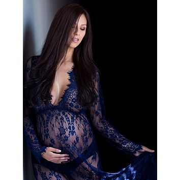 CCO03 Long Sleeve Lace Maternity Dress Photo Shoot Prop (Multiple Colors Available)
