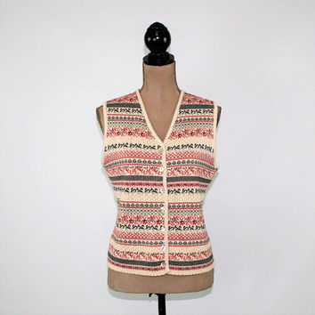 Pointelle Knit Vest Women Sweater Vest Winter Fair Isle Nordic Cotton Petite Small Medium Susan Bristol 90s Vintage Clothing Womens Clothing